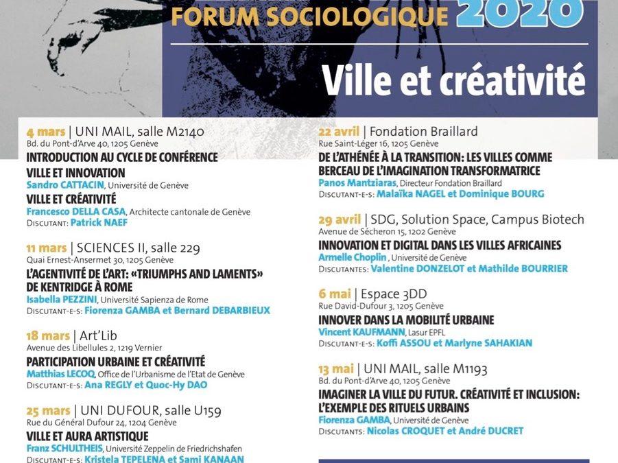 FORUM DE RECHERCHE 2020 Ville et créativité